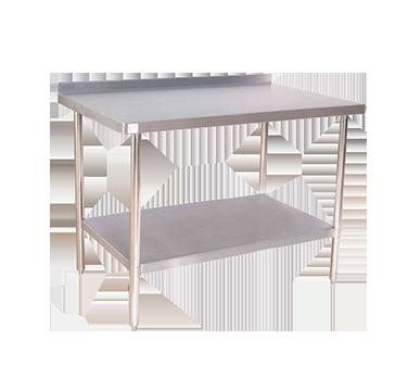 """KTI 72"""" Heavy Duty Work Table w/ Backsplash, 16/430 SS Top"""